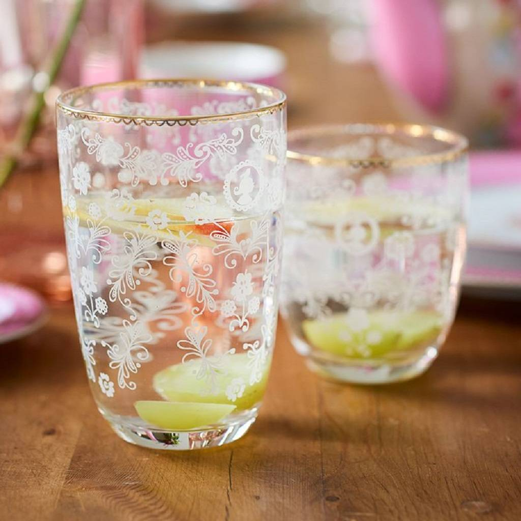 Pip Studio Clear Floral Water Glass
