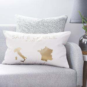 Personalised Country Destination Cushion - bedroom