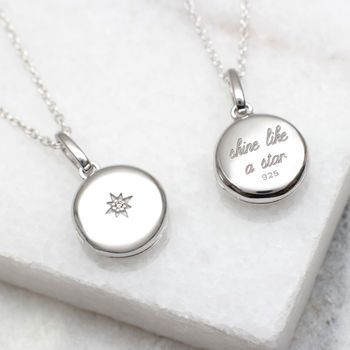 Diamond Set Sterling Silver Personalised Locket