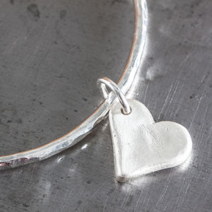Personalised Small Heart Charm Hammered Bangle