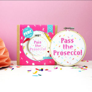 Pass The Prosecco Cross Stitch Craft Kit - prosecco gifts