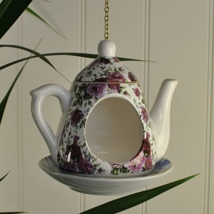 Vintage Teapot Bird Feeder - candles