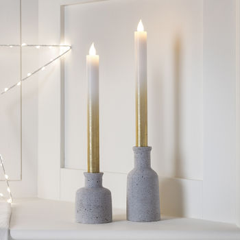 Pair Of Gold Ombre Wax LED Taper Candles