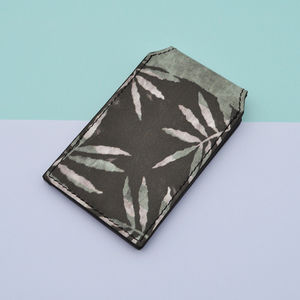Screenprint Leaf Leather Card Holder