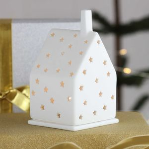 Christmas Porcelain Tea Light With Stars - family christmas collection