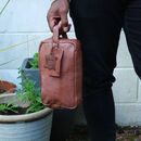 'Stanley' Eco Friendly Zip Top Leather Wash Bag Tan