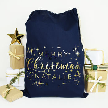 Personalised Gold And Navy Merry Christmas Sack