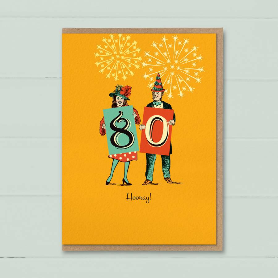 Funny 80th Birthday Card 80 Hooray