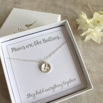 Sterling Silver Button Necklace