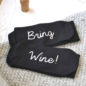 Bring Wine Slogan Socks - women's fashion