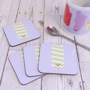 Happy Retro Ice Cream Coaster Twister Ice Lolly