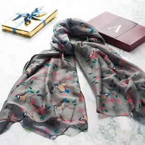 Grey Bird Scarf In A Gift Box With A Gold Initial - gifts for her