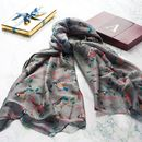Grey Bird Scarf In A Gift Box With A Gold Initial
