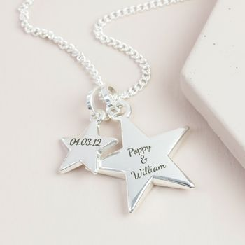 Personalised Long Double Star And Toggle Necklace