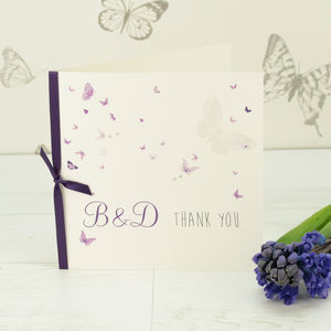 10 Personalised Papillon Thank You Cards