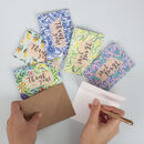 Set Of Six Patterned Mini Thank You Cards