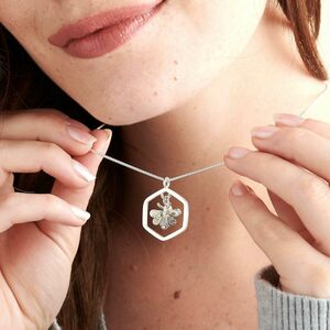 Honeybee Hexagon Silver Necklace