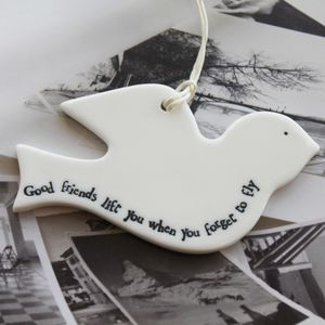 'Good Friends' Hanging Ceramic Bird - decorative accessories