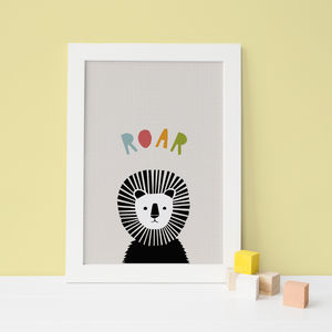 Peekaboo Lion In Colour, Nursery Wall Art - children's room