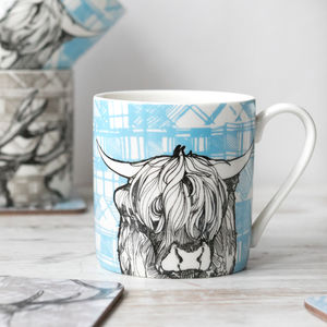 'Tartan Coo' Set Of Two Scottish Highland Cow Mugs