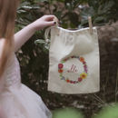 Personalised Summer Flower Wreath Drawstring Bag