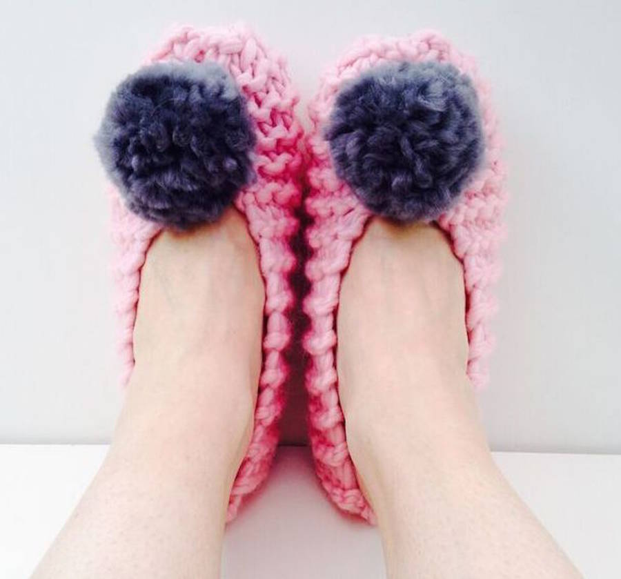 diy knit kit pom pom slippers learn knitting by wool couture notonthehighst...