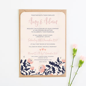Blush And Navy Floral Evening Invite With Gems - engagement & wedding invitations