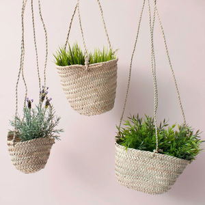 Natural Woven Hanging Planter Basket - flowers