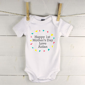 Personalised Mother's Day Babygrow With Triangles