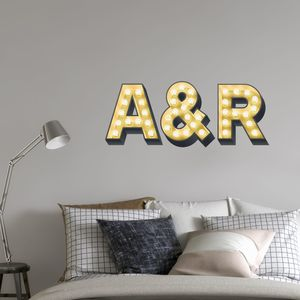 Personalised Initials Light Up Effect Wall Sticker - bedroom
