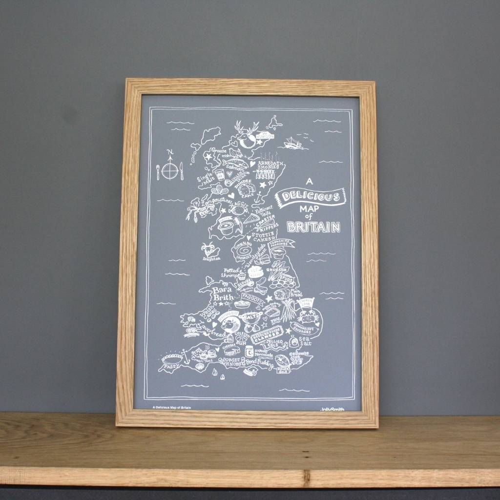 Map Of British Foods Print