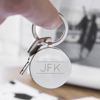 Initial Personalised Solid Circle Disc Keyring
