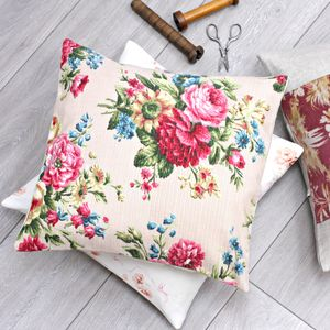 Pink Vintage Floral Fabric Cushion