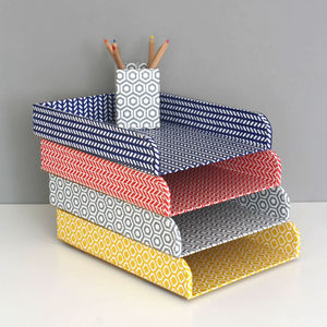 Recycled Geometric A4 Stacking Tray - desk tidies