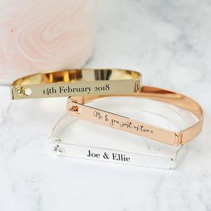 Personalised Flat Front Bar Bangle - sale