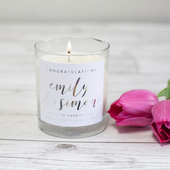 Wedding Congratulations Personalised Candle