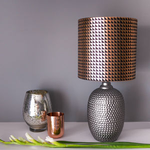 Geometric Lampshade In Black And Copper - bedroom