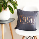 Personalised Year Of Birth Cushion Cover