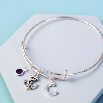 Personalised Anchor Silver Initial Birthstone Bangle