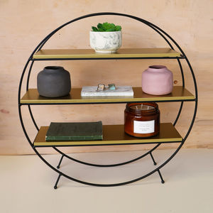 Black Wire And Gold Standing Display Shelf - shelves