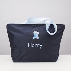 Nylon Tote Bag With Pink Or Blue Embroidery
