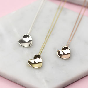 Handmade Solid Gold Concave Heart Necklace - 100 best gifts