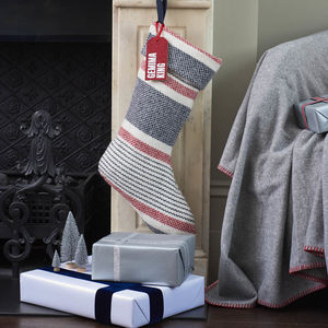 Personalised Merino Cashmere Christmas Stocking - festive scandi