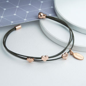 Triple Strand Leather And Rose Gold Heart Bracelet