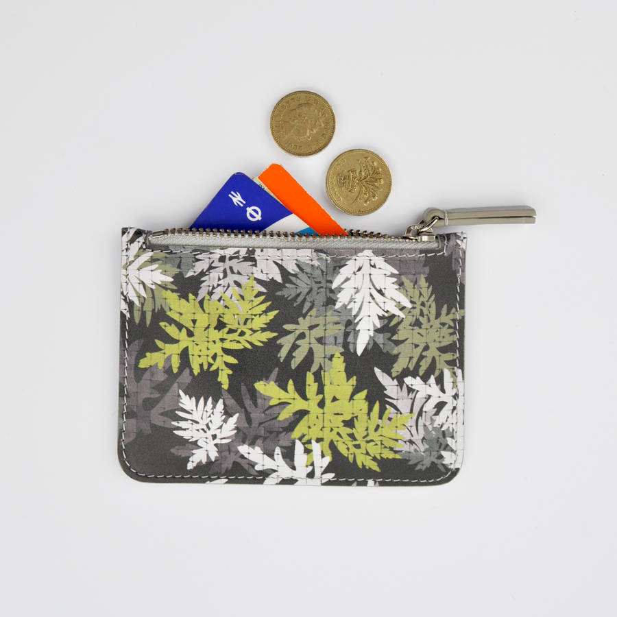 All Over Leaf Print Leather Purse