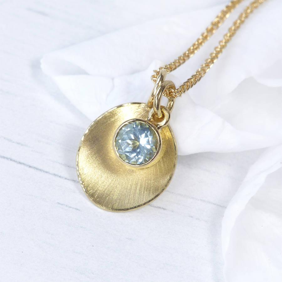 Aquamarine Petal Pendant In 18ct Gold