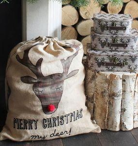 'Merry Christmas' Tartan Reindeer Sack - christmas decorations