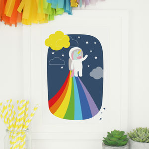 Astronaut Unicorn Rainbow Illustration Nursery Print - animals & wildlife