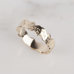 9ct Yellow Gold Leaf Ring - rings