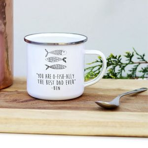 Father's Day Fisherman's Enamel Mug - camping
